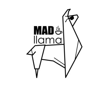 Mad Llama logo with a stylized llama and a coffee cup in black and white