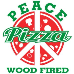 Peace Pizza — Wood fired logo in red, white, and green. The center of the logo has a pizza pie cut to form the Gerald Holtom's peace sign.
