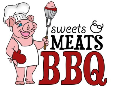 Sweets and Meets BBQ logo with a pink pig with white apron and toque blanche.