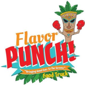 """Flavor Punch """"Bringing Good Eats to the Streets"""" Food Truck colorful logo with a vaguely Polynesian theme"""
